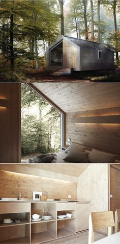 This prefabricated build from Italian company, Hangar, is one of my favourites. Simple lines and zinc shingle shell like a mirage through the trees| Hangar design (Italy), Moonriver  http://www.pircher.eu/en/moonriver