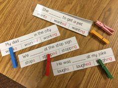 Inflectional endings (-s, -ed, -ing) sentence clip cards. Practicing phonics skills in context!