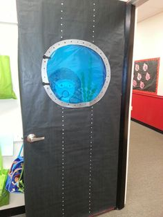 "ALICIA: Submarine door for Your ""OCEAN PALS"" theme. Put like different ocean creatures around it with your kid's name on it"