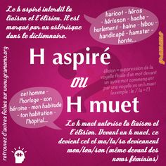 h aspiré ou h muet gramemo French Language Lessons, French Language Learning, Learn A New Language, French Lessons, French Verbs, French Grammar, French Expressions, French Teacher, Teaching French
