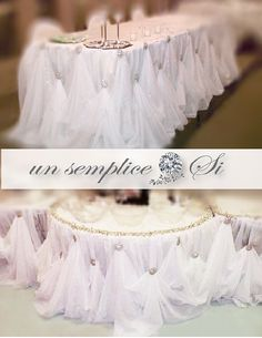 From our Si Collection Create a stunning and elegant wedding head table , cake table, special occasion table, or sweetheart table that is timeless and classic. Each tablecloth comes with rhinestone brooches that add sparkle and glitz to your decor.(brooch can be replaced with your flowers and LED lighting can be placed under for added glamour) Each table skirt has sewn on velcro bands for easy setup. **Recommend that it is used to cover front and /or sides of tables ** DIMENSIONS ARE FO...