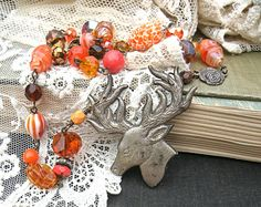 orange fall deer necklace assemblage stag by lilyofthevally