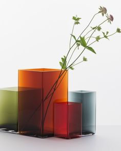 Ruutu... demanding simplicity - Diamond shape, delicate watercolour: Ronan and Erwan Bouroullec vases for iittala