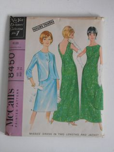 Vintage 60s Evening Dress with Jacket Pattern by lisaanne1960, $35.00