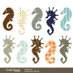 seahorse Clipart 10 PNG files by craftshackdesign on Etsy, $4.95