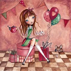 Cartita Design Painting - Birthday Girl by Caroline Bonne-Muller