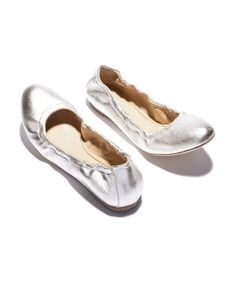 Since silver pairs like a neutral, we'll toss these in our purse whenever the day may call for a pair of stylish backup shoes.