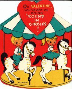 Oh Valentine, You've got me going 'round in Circles!  Vintage 1960's Valentine