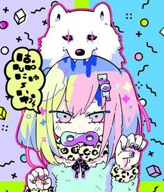 🐶Happy new year! Girls Anime, Kawaii Anime Girl, Kawaii Art, Anime Style, Anime Kunst, Anime Art, Illustrations, Illustration Art, Cyberpunk Anime