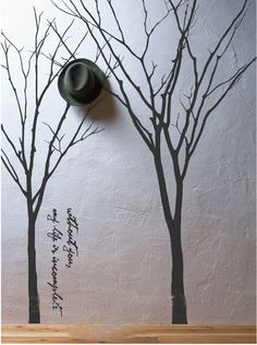 Two Trees birds Words  Nature Vinyl Wall Paper Decal Art Sticker Q5
