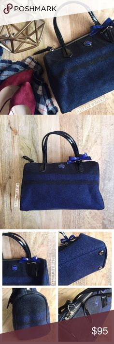 "Coach signature stripe wool bag Coach | Signature stripe blanket satchel in Cobalt/Charcoal. This gorgeous wool handbag features dark blue patent leather handles and bow detail. Interior zip pocket and 2 interior side pockets; top zip closure. Handles are slightly bent from storage as shown in last photo. In otherwise excellent, like new condition.   Approximately 12"" (L) x 7 1/2"" (H) x 5"" (W) Dust bag is included.   [All photos shown are my own and may not be used.] Coach Bags Satchels"