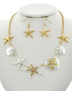 Silver-Gold-Starfish-Sand-Dollar-Sea-Shell-Nautical-Necklace-Earring-Set