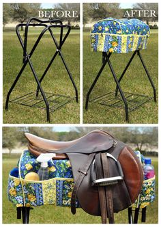 OH MY GOD THIS IS BRILLIANT!  Saddle Rack Cover - Help keep yourself organized at the horse shows