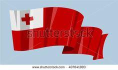 National waving flag vector editable banner ribbon country world Tonga Africa - stock vector