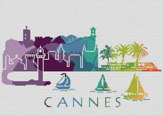 Cross Stitch Pattern Cannes France Europe City Silhouette