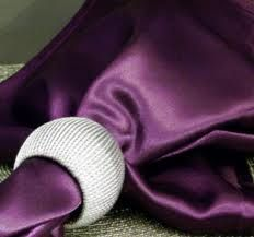Satin Purple Napkin with Silver Ring