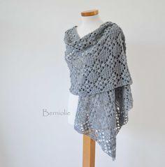 Grey lace crochet shawl stole cotton K16