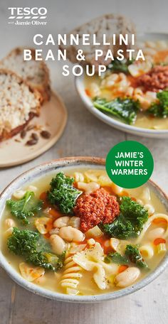 Jamie Oliver's vegan cannellini bean and pasta soup recipe with sundried tomatoes is the ideal winter warmer. Find more healthy soup recipes at Tesco Real Food. Healthy Soup Recipes, Healthy Cooking, Salad Recipes, Cooking Recipes, Healthy Meals, Healthy Food, Jamie Oliver, Kale And Bean Soup, Tesco Real Food