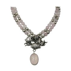 Carol Felley Sterling silver Rose Quartz Sea Life Necklace New Old Stock 1990s | From a unique collection of vintage multi-strand necklaces at https://www.1stdibs.com/jewelry/necklaces/multi-strand-necklaces/