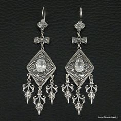 BIG RARE CUBIC ZIRCONIA ETRUSCAN 925 STERLING SILVER GREEK HANDMADE ART EARRINGS #IreneGreekJewelry #Chandelier