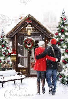 Christmas Scenery, Christmas Artwork, Christmas Couple, Merry Christmas Card, Christmas Paintings, Cozy Christmas, Merry Christmas And Happy New Year, Christmas Wallpaper, Christmas Pictures