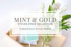 Elegant Branding   Wedding Invitation Ideas   Learn Graphic Design   Mint & Gold Styled Stock by Pixels & Design on @creativemarket