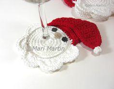 Santa Clause Crochet Coasters . Beverage Drink por MariMartin