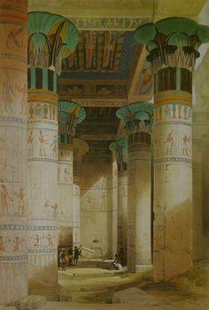 Temple of Isis on the Island of Philae/Egypt (1838) by David Roberts