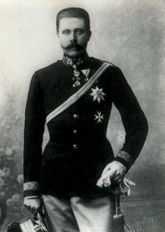 Franz Ferdinand von Habsburg-Lothringen. Archduke of Austria-Este, Austro-Hungarian and Royal Prince of Hungary and of Bohemia, and from 1889 until his death, heir presumptive to the Austro-Hungarian throne. His assassination in Sarajevo precipitated Austria-Hungary's declaration of war against Serbia. This caused the Central Powers and the Allies of World War I  to declare war on each other, starting World War I. Cousin through birthfather's maternal lineage.