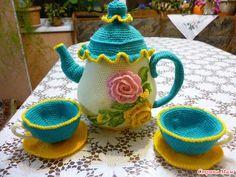 """Juego de té """"para dos"""" - Amigurumi - casa las mamás"""