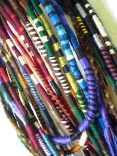 Custom Striped Hair Wrap Extension Thick Yarn Atebas Single Ended Loop Braid In Dread Accessory Many Rainbow Colors Available Any Length