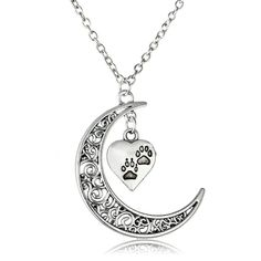 Paws Dog Tag Footprint Moon Pendant Necklace