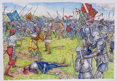 """The death of James IV of Scotland on Flodden Field, 9 September, Stephen Walsh Medieval Knight, Medieval Fantasy, Military Art, Military History, Renaissance, Uk History, History Medieval, European History, Osprey Publishing"