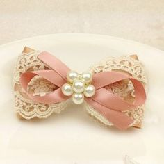 Refreshing Lace Jacquard Ribbon and Pearls Embellished Bowknot Hair Clip For Women
