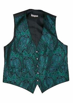 """VINTAGE YOUNGS FORMAL MENSWEAR SEA GREEN PAISLEY WAISTCOAT 40"""" CHEST QUIRKY"""