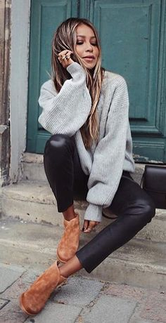 #fall #outfits knitted gray sweater with black leather pants