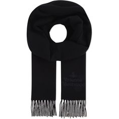 Vivienne Westwood Mens Black Embroidered Traditional Wool Scarf (€67) ❤ liked on Polyvore featuring men's fashion, men's accessories, men's scarves, mens woolen scarves, mens wool scarves and mens scarves