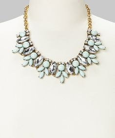 Mint Rhinestone Bib Necklace