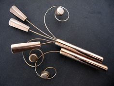 Vintage Large Copper Brooch Mid Century by jwvintagejewelry