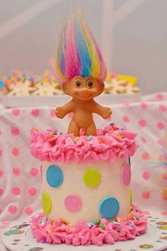 Polka dot cake at a trolls birthday party! See more party planning ideas at CatchMyParty.com!