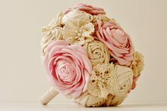 Fabric Bridal Bouquet,  Wedding  Fabric Bouquet, Pearls and Lace, Vintage Wedding, Pink Roses. $100.00, via Etsy.