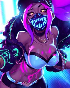 Akali - KDA - League of legends art Leona League Of Legends, Akali League Of Legends, Girls Anime, Manga Girl, Fantasy Characters, Female Characters, Character Concept, Character Art, Harley Queen