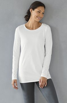 Pure Jill long-sleeve stretch cotton tee | www.jjill.com