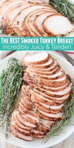 This Smoked Turkey Breast recipe will change your life! It creates the most TENDER & JUICY turkey breast you've ever eaten. And it's easy to make with a quick brine, rub & smoke! This recipe is perfect for a small Thanksgiving meal, but is also easy enoug Traeger Recipes, Smoked Meat Recipes, Turkey Recipes, Grilling Recipes, Vegetarian Grilling, Tailgating Recipes, Healthy Grilling, Barbecue Recipes, Smoked Turkey Breast Brine Recipe