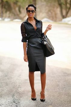 Match a black chiffon dress shirt with a black leather pencil skirt to feel confident and trendy. Round off this look with black leather pumps. Fashion Mode, Office Fashion, Work Fashion, Womens Fashion, Trendy Fashion, Fashion Ideas, Black Leather Pencil Skirt, Black Tote, Pencil Skirt Outfits