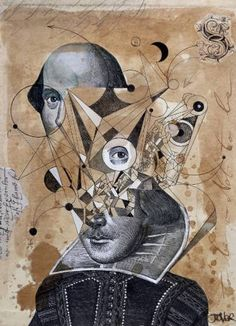 """Saatchi Art Artist Loui Jover; Collage, """"shakespeare as an abstracted concept"""" #art"""