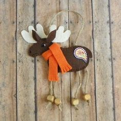 Paisley Moose Felt Christmas Ornament