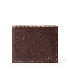 Fossil Men's Lincoln Bifold Flip ID Brown Leather Wallet ML3569200