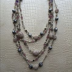 """LOWEST!!! Lia Sophia Sugar Plum Necklace Genuine Purple Jade with Resin Beads. 18-21"""". (Ring in 3rd picture is not included) Lia Sophia Jewelry Necklaces"""