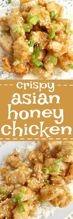 Crispy Asian honey chicken is tender chunks of chicken breaded with a crispy coating and pan fried. Whip up a quick & simple Asian honey sauce and drizzle over the crispy chicken. Serve with rice and you have a completely delicious dinner that will be better than any take-out.